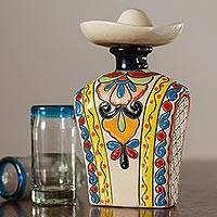 Ceramic tequila decanter, 'Serape in Yellow' - Yellow and Colorful Serape and Hat Ceramic Tequila Decanter