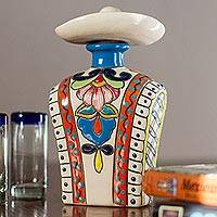 Ceramic tequila decanter, 'Serape in Orange' - Orange and Colorful Serape and Hat Ceramic Tequila Decanter
