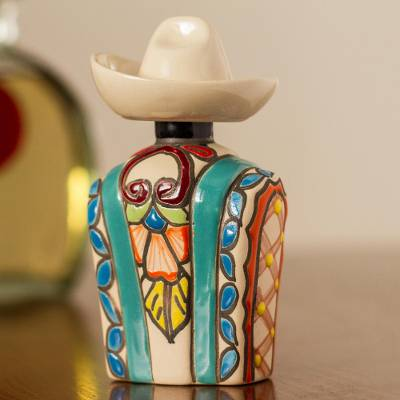 Ceramic tequila decanter, 'Serape in Aqua' - Aqua and Colorful Serape and Hat Ceramic Tequila Decanter