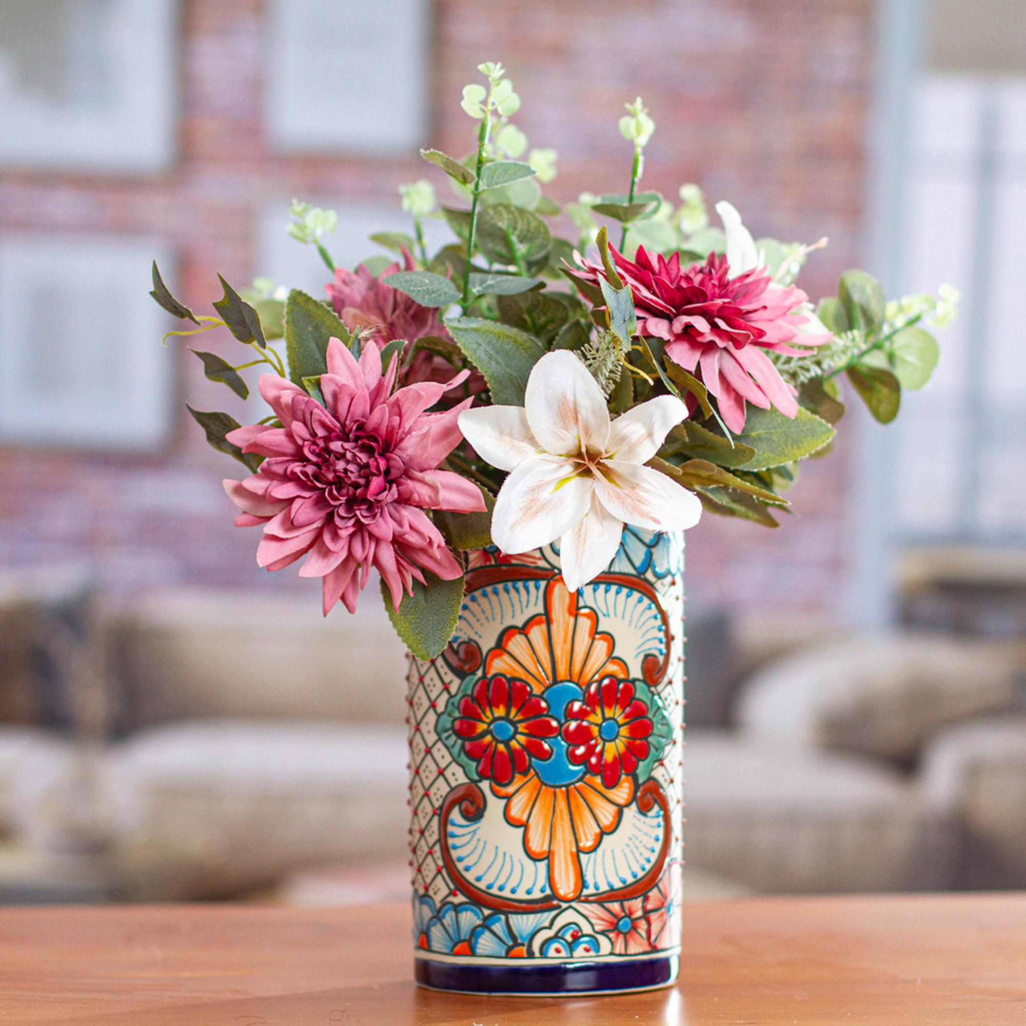 Talavera Style Blue Rim Colorful Floral Motif Ceramic Vase Garden Gift Novica