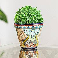 Ceramic flower pot, 'Garden Fiesta' - Colorful Talavera Style Floral Motif Ceramic Flower Pot