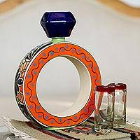 Ceramic tequila decanter, 'Ring of Liquid Gold' - Blue and Orange Ring Shape Ceramic Tequila Decanter