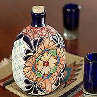 Ceramic tequila decanter, 'Garden Festivities' - Oval Floral Motif Talavera Style Ceramic Tequila Decanter