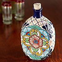 Ceramic tequila decanter, 'Floral Festivities' - Oval Multi-Color Talavera Style Ceramic Tequila Decanter