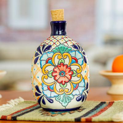 Oval Multi-Color Talavera Style Ceramic Tequila Decanter