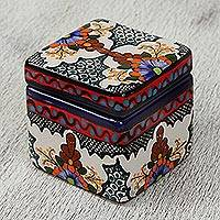 Ceramic decorative box, 'Talavera Keeper' - Hand-Painted Talavera-Style Ceramic Decorative Box
