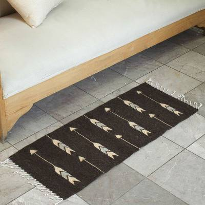 Wool area rug, 'Arrows of Time' (1x3) - Arrow Pattern Wool Area Rug from Mexico (1x3)