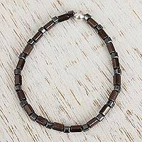 Hematite beaded stretch anklet,