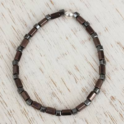 Hematite beaded stretch anklet, 'Metallic Elegance' - Natural Hematite Beaded Anklet from Mexico