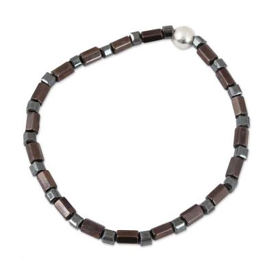 Natural Hematite Beaded Anklet from Mexico