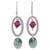 Swarovski crystal dangle earrings, 'Crystal Enchantment' - Pink and Green Swarovski Crystal Dangle Earrings from Mexico thumbail