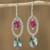 Swarovski crystal dangle earrings, 'Crystal Enchantment' - Pink and Green Swarovski Crystal Dangle Earrings from Mexico (image 2a) thumbail