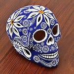 Floral Blue Ceramic Skull Figurine from Mexico, 'Skull of White Flowers'
