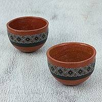 Ceramic cups, 'Gorgeous Geometry' (Pair) - Brown with Geometric Motif Hand Painted Ceramic Cups (Pair)