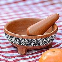 Ceramic molcajete, 'Ground Flavor' - Brown Ceramic Molcajete Hand Painted Grey Geometric Motif