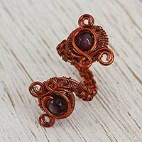 Agate wrap ring, 'Curls and Coils' - Handcrafted Purple Agate and Copper Wire Wrap Ring