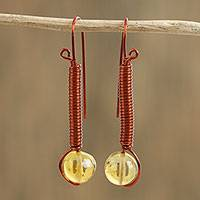 Amber drop earrings, 'Lamplight' - Handcrafted Copper Wire Wrapped Amber Bead Drop Earrings