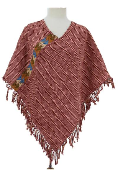 Cotton poncho, 'Tender Mornings' - Handwoven Cotton Poncho in Burgundy and Cornsilk from Mexico
