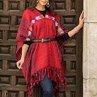 Cotton poncho, 'Claret Artistry' - Handwoven Cotton Poncho in Claret from Mexico