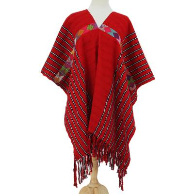 Handwoven Cotton Poncho in Claret from Mexico