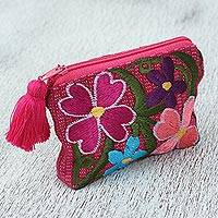 Cotton coin purse, 'Garden of Treasures' - Cotton Colorful Embroidered Floral Motif Coin Purse