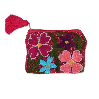 Cotton Colorful Embroidered Floral Motif Coin Purse