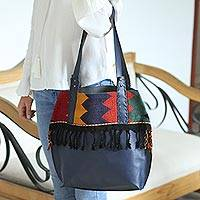 Leather shoulder and cosmetic bag, 'Bohemian Zigzag in Navy' (pair) - Zigzag Navy Leather Shoulder and Cosmetic Bag (Pair)