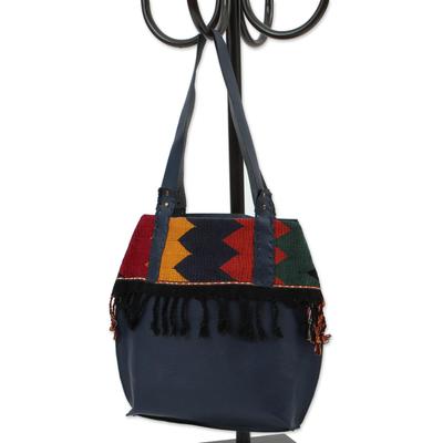 Leather shoulder and cosmetic bag, 'Bohemian Zigzag in Navy' (pair) - Zigzag Navy Leather Shoulder and Cosmetic Bag (Pair)