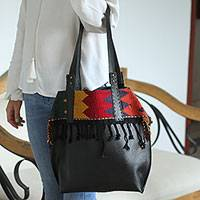Leather shoulder and cosmetic bag, 'Bohemian Zigzag in Black' - Zigzag Embroidered Black Leather Shoulder and Cosmetic Bag