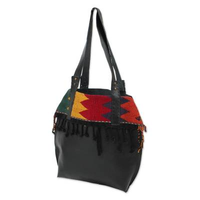 Leather shoulder and cosmetic bag, 'Bohemian Zigzag in Black' (pair) - Zigzag Black Leather Shoulder and Cosmetic Bag (Pair)