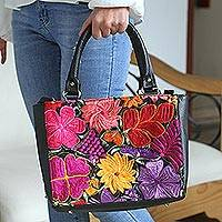 Cotton accent leather handbag, 'Bouquet of Flowers' - Floral Cotton Accent Leather Handbag from Mexico