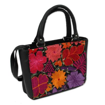 Floral Cotton Accent Leather Handbag from Mexico