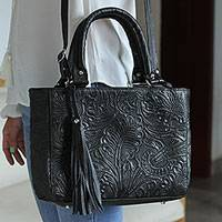 Leather shoulder bag, 'Flower Carrier in Black' - Floral Embossed Leather Shoulder Bag in Black from Mexico