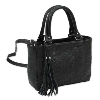 Floral Embossed Leather Shoulder Bag in Black from Mexico