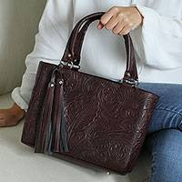 Tooled leather handbag, 'Exquisite Garden' - Hand Tooled Dark Brown Leather Handbag
