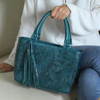 Leather shoulder bag, 'Flower Carrier in Teal' - Floral Leather Shoulder Bag in Teal from Mexico