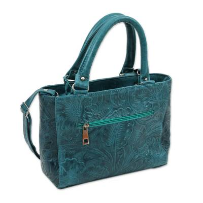 Floral Leather Shoulder Bag in Teal from Mexico