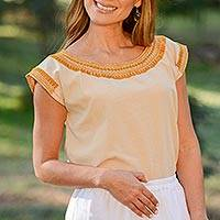 Cotton blouse, 'Taupe Woman' - Handcrafted Cotton Blouse in Taupe from Mexico