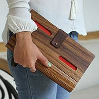 Wood clutch, 'City Savvy in Red' - Wood and Red Leather Accent Clutch with Detachable Strap