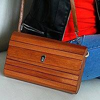 Wood sling, 'Urban Traveler' - Natural Brown Okoume Wood Shoulder Bag with Leather Lining