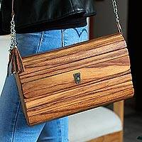 Wood sling, 'Urban Natural in Light Brown' - Medium Brown Concaste Wood Shoulder Bag with Leather Lining