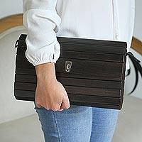 Wood sling, 'Urban Natural in Dark Brown' - Dark Brown Wood Shoulder Bag with Leather Lining from Mexico