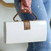Wood handle handbag, 'Classic Case' - White Wood Handbag with Brown Leather Handle and Accents