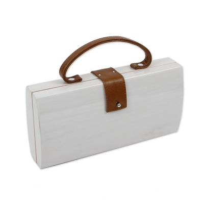 White Wood Handbag with Brown Leather Handle and Accents