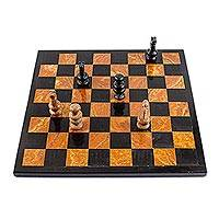 Marble chess set, 'Earthen Challenge' - Brown and Black Marble Chess Set Crafted in Mexico