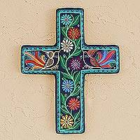 Ceramic wall cross, 'Vibrant Faith'