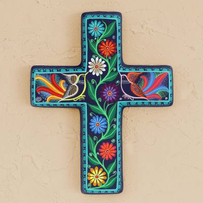 Ceramic wall cross, 'Vibrant Faith' - Floral and Bird-Themed Ceramic Wall Cross from Mexico