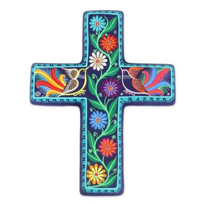 Ceramic wall cross, 'Vibrant Faith' - Floral and Bird-Themed Ceramic Wall Cross from Mexico