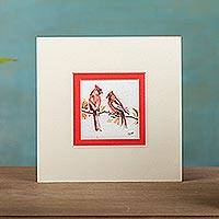 'Red Morning' - Signed Cardinal Bird Watercolor Painting from Mexico