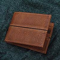 Leather wallet, 'Sleek Chic in Brown' - Handmade Leather Wallet in Brown from Mexico